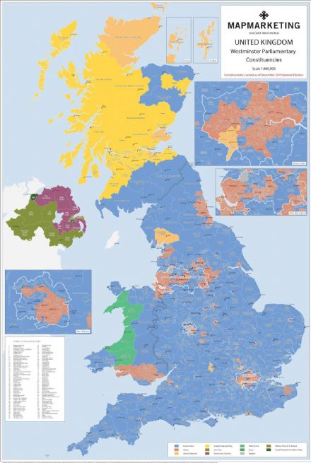 UK Parliamentary Constituencies Wall Map December 2019 - Laminated